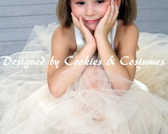 Beige/ ivory  flower girl tutu dress/ Christmas, flower girls, wedding any occasion/ sewn tutu with a detachable t