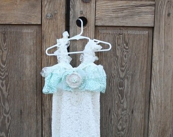 ivory and aqua lace vintage dress for weddings, flower girls and photoprop with a coordinating headband