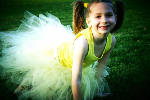 """The """"Sweet lemonade"""" very full, sewn yellow/baby maze tutu skirt for flower girls, easter, birthdays, photo prop you choose your colors"""