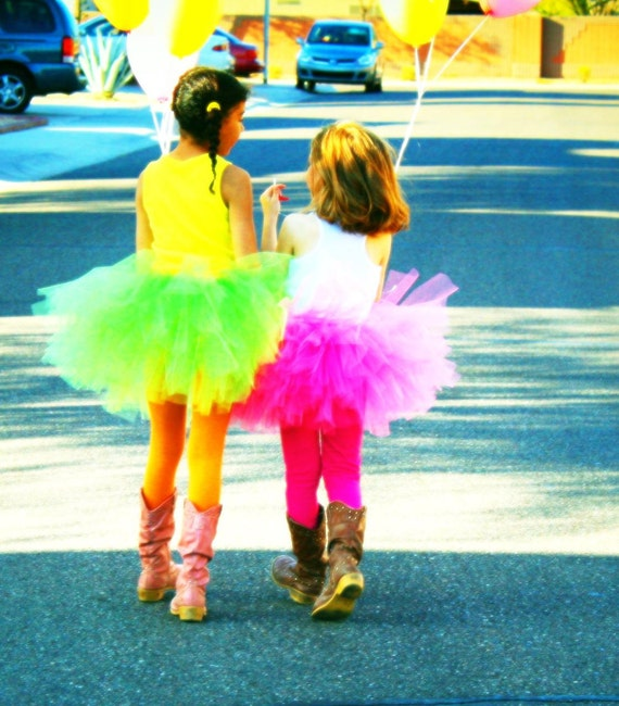 summer fun bright/neon colors, apple green, fuschia SEWN tutu skirts  birthdays, pageant,  weddings, flower girl, photo prop