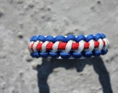 Red White and Blue Paracord Survival Bracelet with Contoured Black Slide Release Clip (USA)