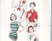 50's Sewing Pattern Casual Blouses Sailor Collar Bateau Neck Polo Insets Size 12 Bust 32 Butterick 8477 UNCUT