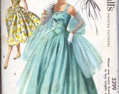 50's Strapless Evening Gown Boned Bodice Voluminous Skirt Stole Wrap Size 11 Bust 29 McCall's 3399