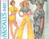 70's Side Tie Sarong Shorts Bell Bottom Pants Tie Crop Top Size 10 Bust 32 McCall's 4491