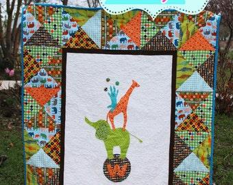 Circus Stack PDF Quilt Pattern elephant giraffe bunny