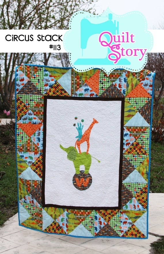 Circus Stack PDF Quilt Pattern elephant giraffe bunny