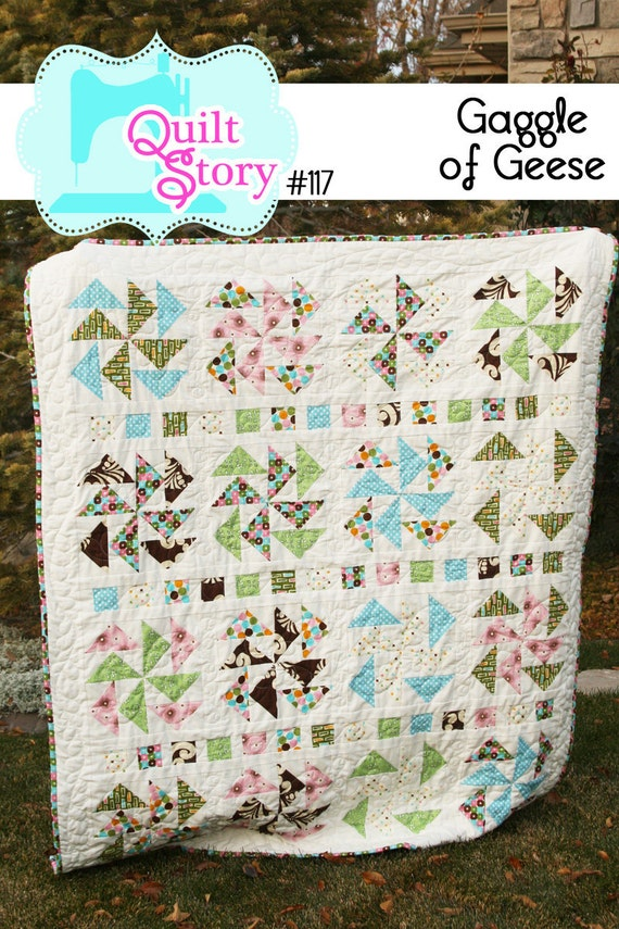 """Quilt Pattern PDF modern simple traditional block """"Gaggle of Geese"""""""