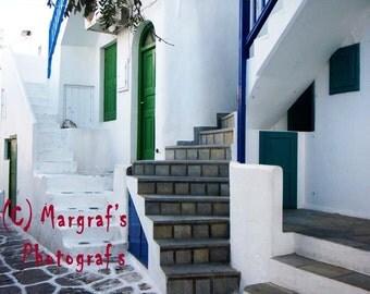 Greek photography, 8x10  photo print, Greek village Stairway on Mykonos island Greece, fine art photography