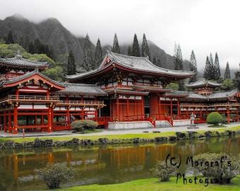 Buddhist Temple replica in Maui Hawaii, 5x7 temple photo, fine art photography print 5x7 photo