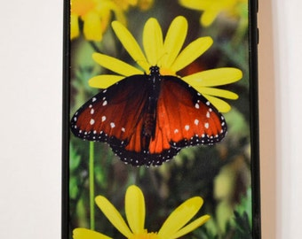 SALE * iphone 4 / 4s case, butterfly and yellow flowers photo iphone cover