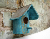 Rustic home decor Wedding Grayed Jade Romantic teal, Ultramarine Green  and gold rustic style bird feeder or nesting box , gift for her