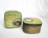 Set of two woodland boxes for tea, organic light wood, designed in lime-green colors, organize your kitchen, motherday gift