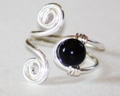 NEW - Double Wrapped Spiral Toe Ring with White or Black Shell