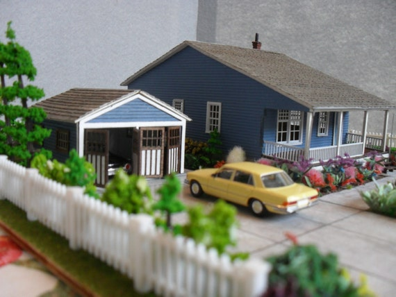 Reserved for Margie: Miniature Bungalow with Garage Property HO Scale