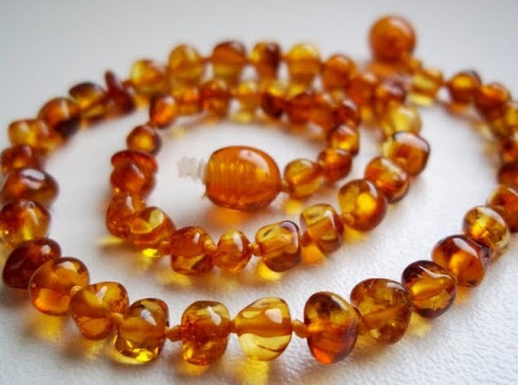 Baltic Amber Baby Teething  Necklace. Cognac  colour. High quality.