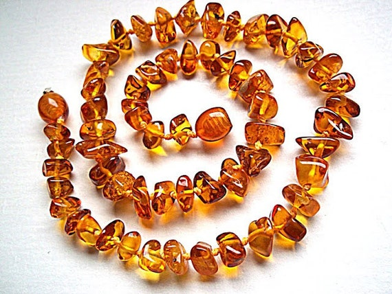 Baltic Amber Baby Teething  Necklace.  Honey Color  Random  form Beads.