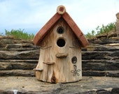 Outdoor Birdhouse Made From Hollowed Cedar Log, Very Unique and Rustic Birdhouse - FeathersOfTheForest