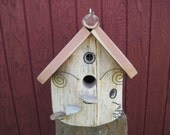 Wood Bird House Made From Hollowed Red Cedar Reclaimed Log