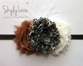 Custom fit headband for Baby or Adult - Cheetah print, chocolate, and white floral headband with white feathers
