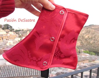 Victorian Short Spats Red brocade steampunk one size damask