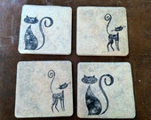 Tile Cat Coasters - Set of 4