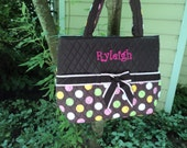 Diaper Bag, Quilted 3 piece, Personalized - Brown with Pink/Brown Ribbon Trim and White, Pink, Green, Yellow Polka Dots