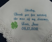 Personalized White Wedding Bridal Handkerchief Embroidered for the Mother of the Groom