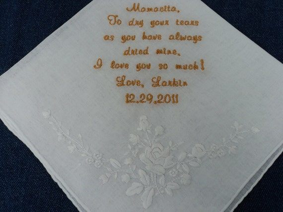 Beautifully Embroidered Wedding Handkerchief from the Bride to her Mother