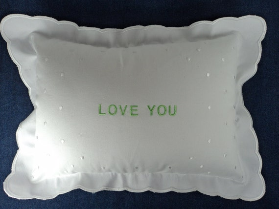 Embroidered Personalized White Scalloped Baby Pillow