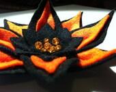 Halloween Soft Felt Broach, in Pumkin Orange and Jet Black