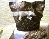 Beige and Brown handmade tote bag purse