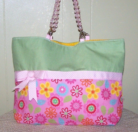 Green and Pink Purse with Acrylic Handles ON SALE