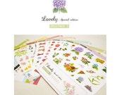 Creative DECO STICKER Set 8 Sheets (Garden Flowers, Paris, Buttons, Bows)