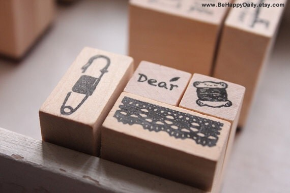 """5pc Wooden RUBBER STAMP Set : Cotton Bobbin, Pin, """"Dear"""", Lace (4 Stamps & Ink Pad)"""