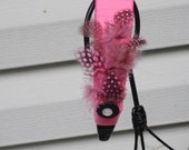 pink and black guinea FEATHER ribbon HEADBAND dancer bling