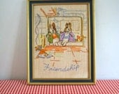 vintage needlework - PETER RABBIT 'friendship' wall hanging