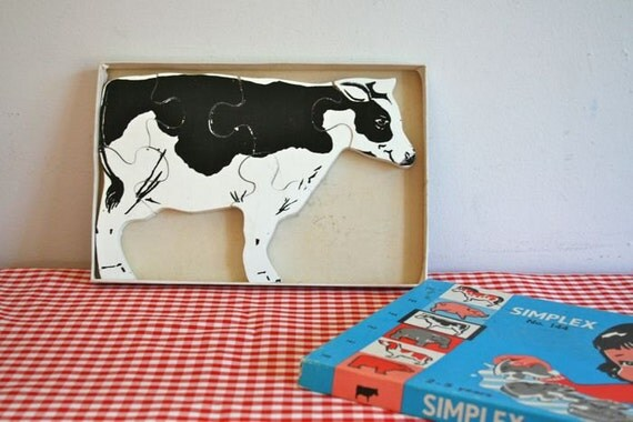 vintage 50/60s wooden puzzle - COW chunky puzzle / simplex no. 144
