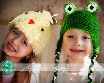 Crochet Frog Hat Made to Order Newborn to Child Animal Earflap Braid Winter Warm Photo Prop