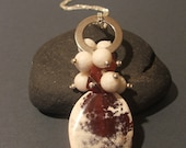 Red and White Carnelian Pendant