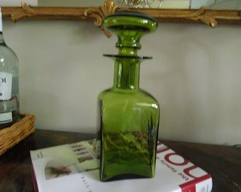 Decanter Glass Container Green Bottle