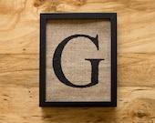 SALE. Letter G - burlap wall decor, alphabet art, monogram
