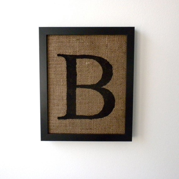 Wall Decor Letter B : Letter b burlap wall decor alphabet art monogram by laxtoyvr
