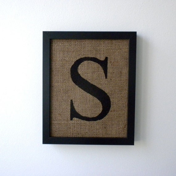 Letter s burlap wall decor alphabet art monogram by laxtoyvr Wall letters decor