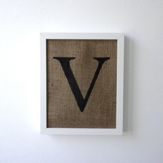 Wall Decor Letter V : Letter v burlap wall decor alphabet art monogram