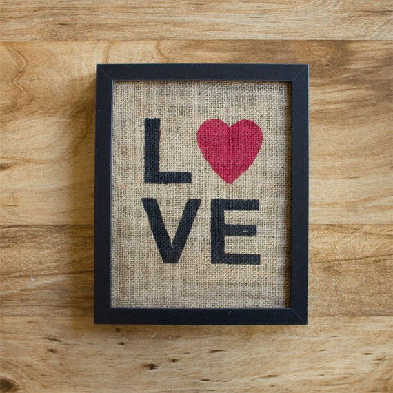 Burlap wall decor - LOVE, typography, sign, Valentine's Day