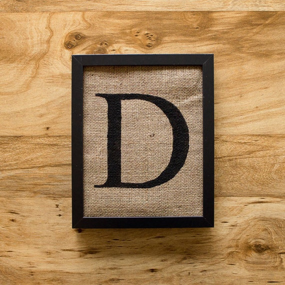 Letter D - alphabet art, burlap wall decor, monogram