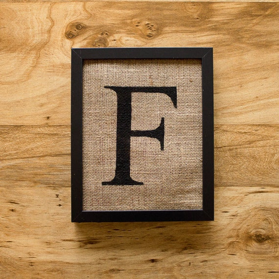 SALE. Letter F - alphabet art, burlap wall decor, monogram