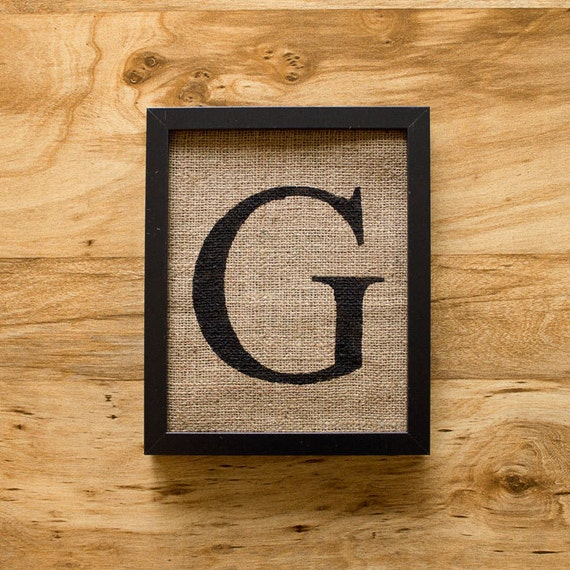SALE. Letter G - burlap wall decor, alphabet art, monogram