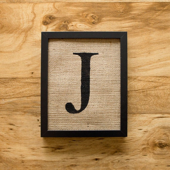 Letter J - alphabet art, burlap wall decor, monogram