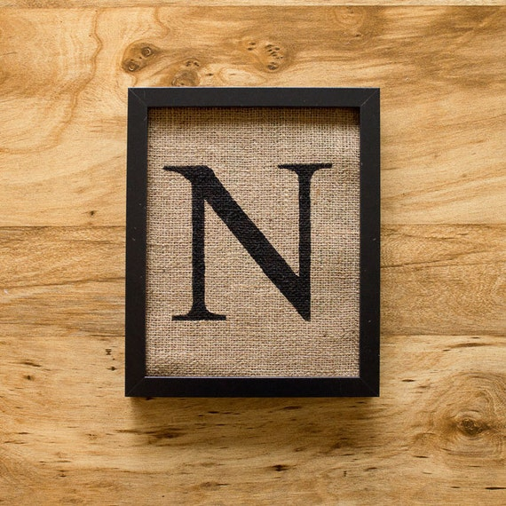 SALE. Letter N - monogram, burlap wall decor, alphabet art